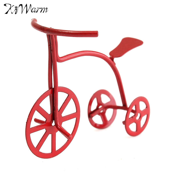 Kiwarm Metal Red Bicycle 1:12 Dollhouse DIY Miniature Furniture Bike House Accessories For Home Decor Kids Gift Craft Ornaments