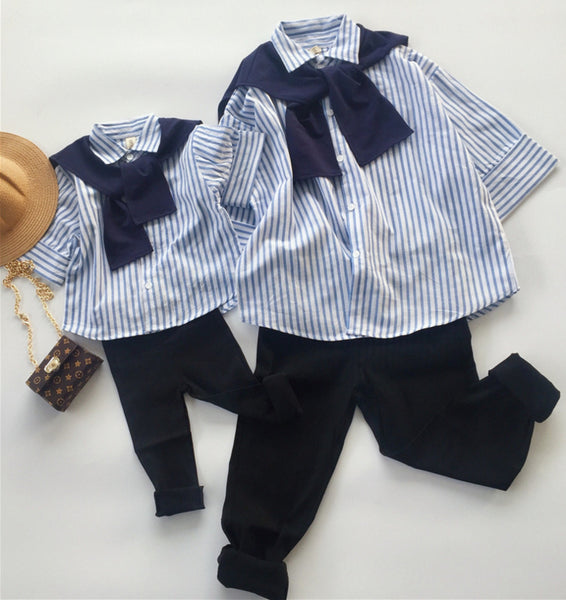 Korea style Mommy and me family matching mother daughter striped sailor collar blouse clothes kids parent child outfits