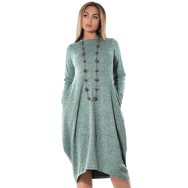 L 6xl Big Sizes Casual Loose Midi Dress Women Long Sleeve Autumn Winter Dresses Plus Size Vestidos Tall Women Elegant Dress New Beal Daily Deals For Moms