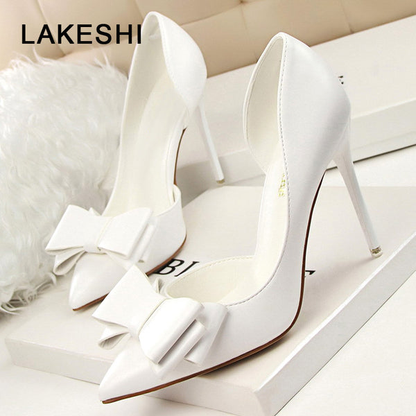 LAKESHI Women Pumps Leisure High Heels Fashion Butterfly knot Shoes Pointed Toe Wedding Shoes Bride