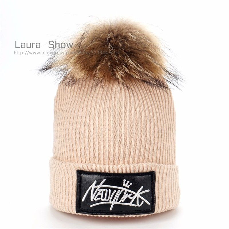 a317f57985f LAURASHOW Kids Boys Girl Hip Hop Cap Real Raccoon Fur Ball Pom Poms Knitted  Wool Beanie Hat Warm Winter – Beal