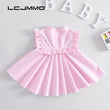 LCJMMO Baby Dresses 2018 Summer Infant Roses Floral Baby Girl Dress Princess Party Ruffled Sleeveless Girls Dresses Clothes 1-3Y