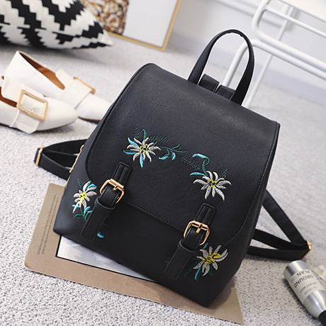 LEFTSIDE Fashion Floral Bags For Women Leather Backpack Embroidery School Bag For Teenage Girls