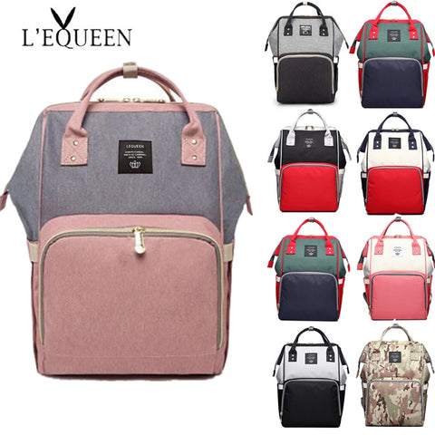 LEQUEEN Diaper Bag Baby Care Large Capacity Mom Backpack Mummy Maternity Wet Bag Waterproof  Baby