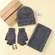 LNRRABC 3PCS/Set Winter Cotton Knitted Hats Scarves Gloves Solid Women Men Warm Elegant Scarves Set Accessories