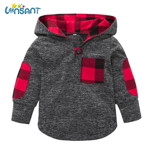 LONSANT Coat Baby Girls Hoodie Winter Plaid Long Sleeve Sweatshirt Children Warm Clothes Fantasias Infantil 2018 Dropshipping J5