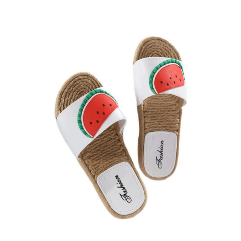 d34fc2dbf Laamei 2018 New Summer Women Slippers Straw Braided Flat Sandals Home  Slippers Fruit Print Girls Summer Shoes Female Slippers – Beal