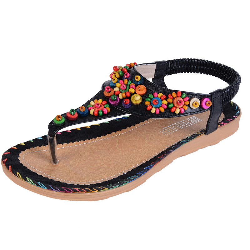 4858049eb Laamei Bohemian Ethnic Boho Sandals Summer Shoes 2018 Floral Flower ...