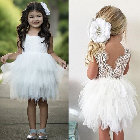 Lace Princess Girl Tulle Dress V-back Design Tutu Cake Dress Kids Clothes Summer Girl Party Wear