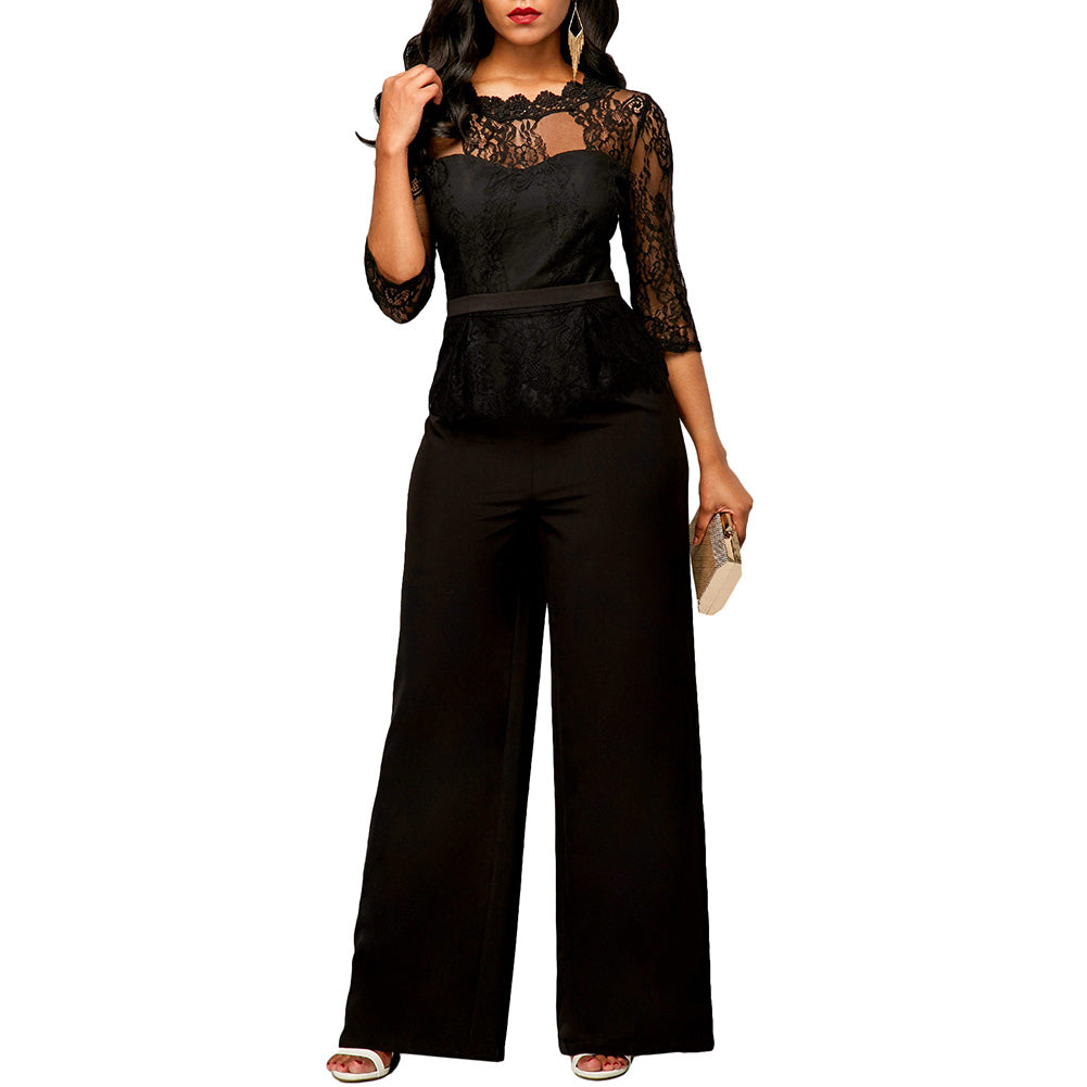 fb2f0b4aba4e Lace Rompers Women Jumpsuit Summer 2018 Elegant Ladies Office Work ...