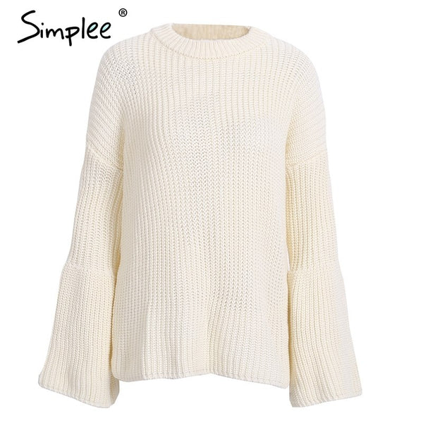 Lace up flare sleeve knitted sweater Women sexy hollow out pullover jumper Autumn winter