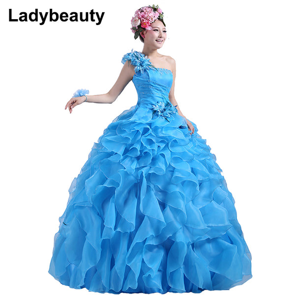 Ladybeauty 2017 New Colorful Organza A line Beading Ruched One Shoulder Wedding Dress Bride