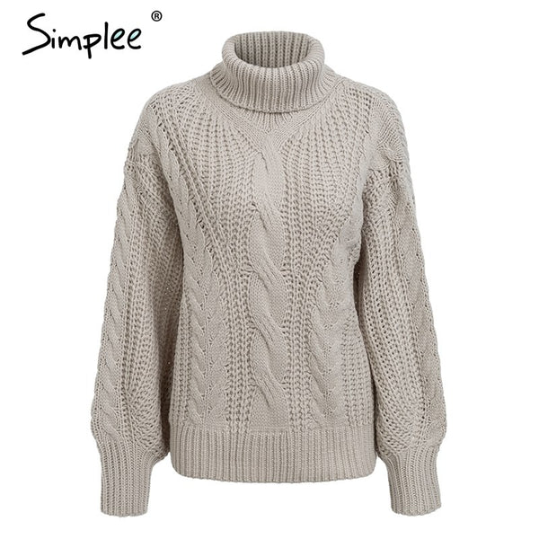 Lantern sleeve sweater and pullover for women 2018 Autumn winter turtleneck sweater loose