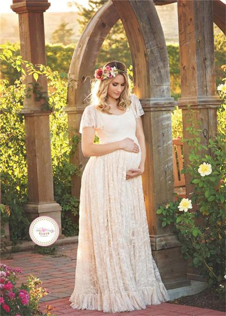 360d378968f55 Le Couple Maternity Gown Photography Props Maternity Maxi Dresses Off White  Summer Lace Stretchy Dress Maternity Photo Session