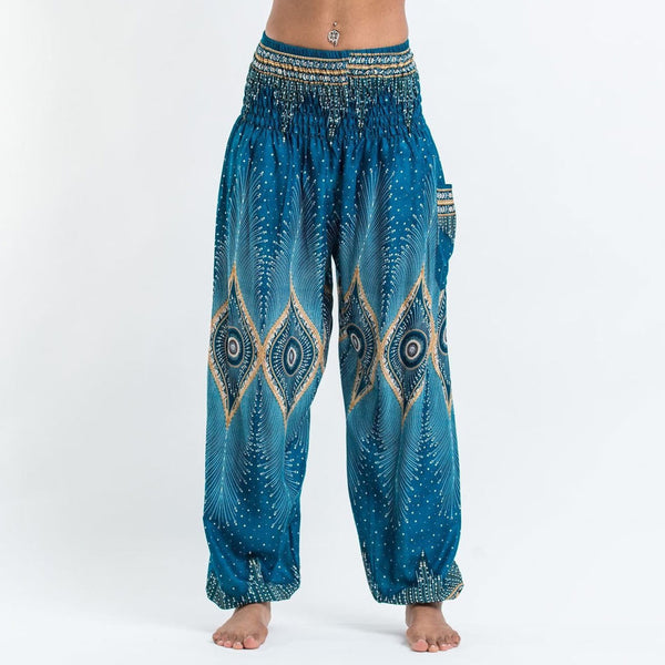 Le NaKai High Waist Turquoise Bohe Harem Yoga Pants Plus Size Beach Pant Bloomers Loose peacook Printed Hippi yoga trouser
