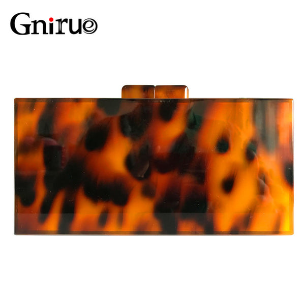 Leopard Pattern Acrylic Clutch Bag Retro Tortoiseshell Box Evening Bags Party Women Shoulder