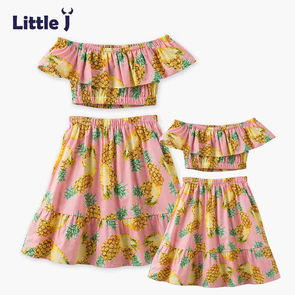 Little J Pineapple Printed Mother Daughter Dresses Clothes Off Shoulder Tops + Skirt Belly Set Mom Girls Dress Family Outfits
