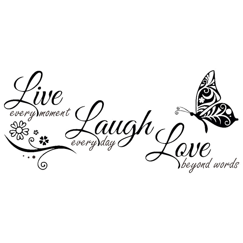 Live Laugh Love Butterfly Flower Wall Art Sticker Modern Wall Decals Quotes  Vinyls Stickers Wall Stickers Home Decor Living Room