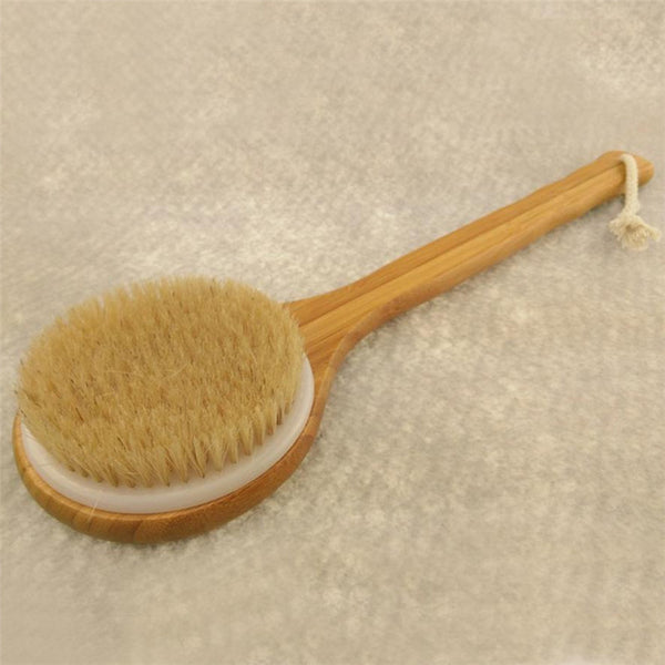 Long Handle Wooden Bath Shower Body Back Brush Spa Scrubber Exfoliating         x30406