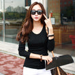 Long Sleeve Harajuku t-shirt For Women Fashion Slim Spring Autumn Cotton Tops O Neck Casual Black White Gray t shirt Tops A562