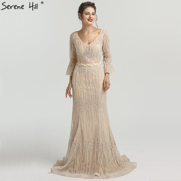 Long Sleeves Fashion Luxury Evening Dresses V-Neck Mermaid Pearls Crystal Sexy Evening Gowns 2018