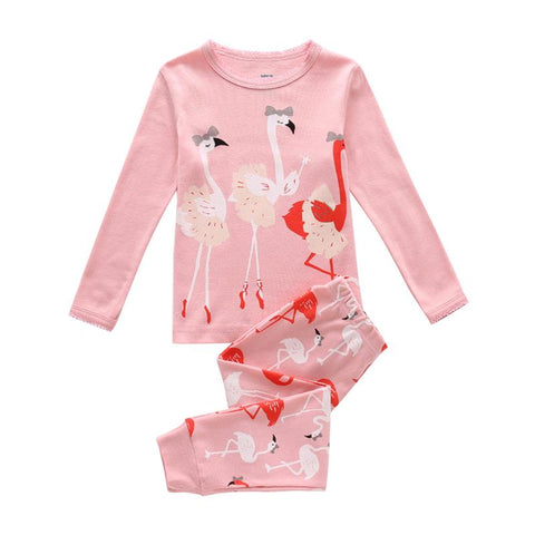 Lovely Flamingo Print - Baby Girl Clothes, Girls Sweet Dreams Pink Flamingo Pajamas Set Christmas