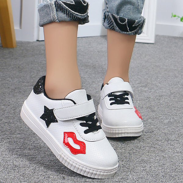 Lovely Lip Sneakers for Children 2018 Unisex White Flat Girls Shoes Sequins New Student Casual
