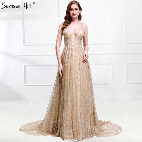 Luxury Bling Deep-V Sexy Tulle Evening Dresses 2018 Sexy Sleeveless Backless Formal Evening Gowns