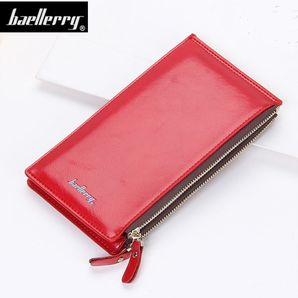 Luxury Brand Women Wallet Female Long  double Zipper oil wax Leather Wallets Purse Card Holder New Ladies Purses Clutch