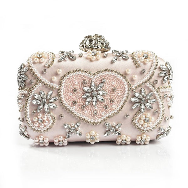 Luxury Crystal Evening Bag Handmade Style Rhinestones Pearl Women Evening Bags Vintage Satin Lady