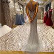 Luxury Dubai Arabic Gray Mermaid Robe De Soiree Sheer Evening Dresses  Beaded Sequins Formal Dress