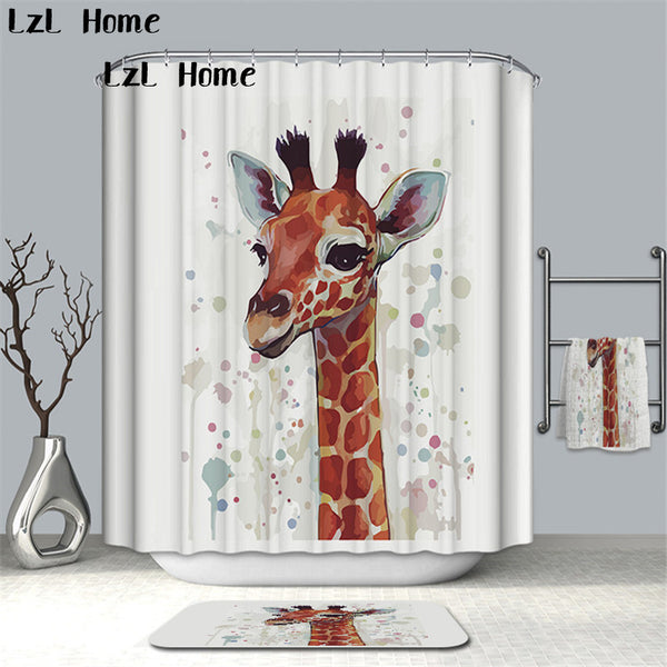 LzL Home New Arrival Deer Pattern Waterproof Shower Curtain Fabric 3D Shower Curtain Bathroom