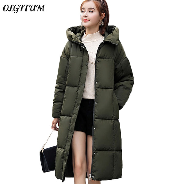 M-3XL 2018 Plus Long Winter Coat New Brand Parkas Fashion Women Hooded Down Cotton Jacket Thicken