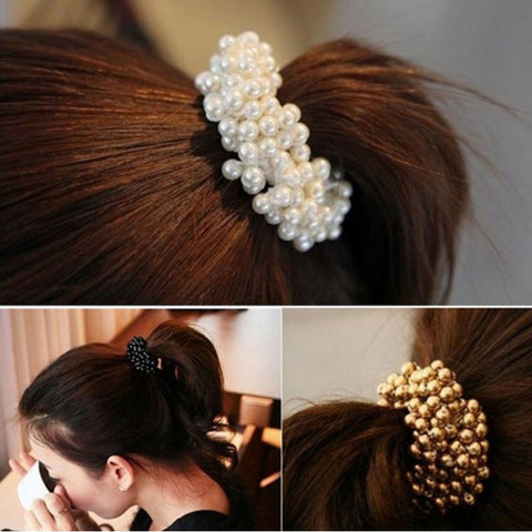 M MISM Pearls Beads Hair Accessories Cute Elastic Hair Bands For women Hair Rope Scrunchies Ponytail Holders Rubber Bands New