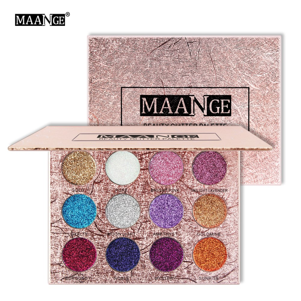 MAANGE 12 Colors Glitter Eyeshadow Diamond Pressed Golden Shiny Shimmer Matte Eye Shadow Beauty