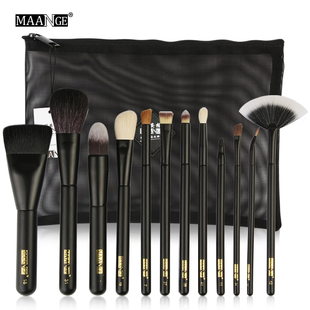MAANGE 12Pcs Full Function Cosmetic Makeup Brushes Set Pro Powder Foundation Eyeshadow Lips Beauty