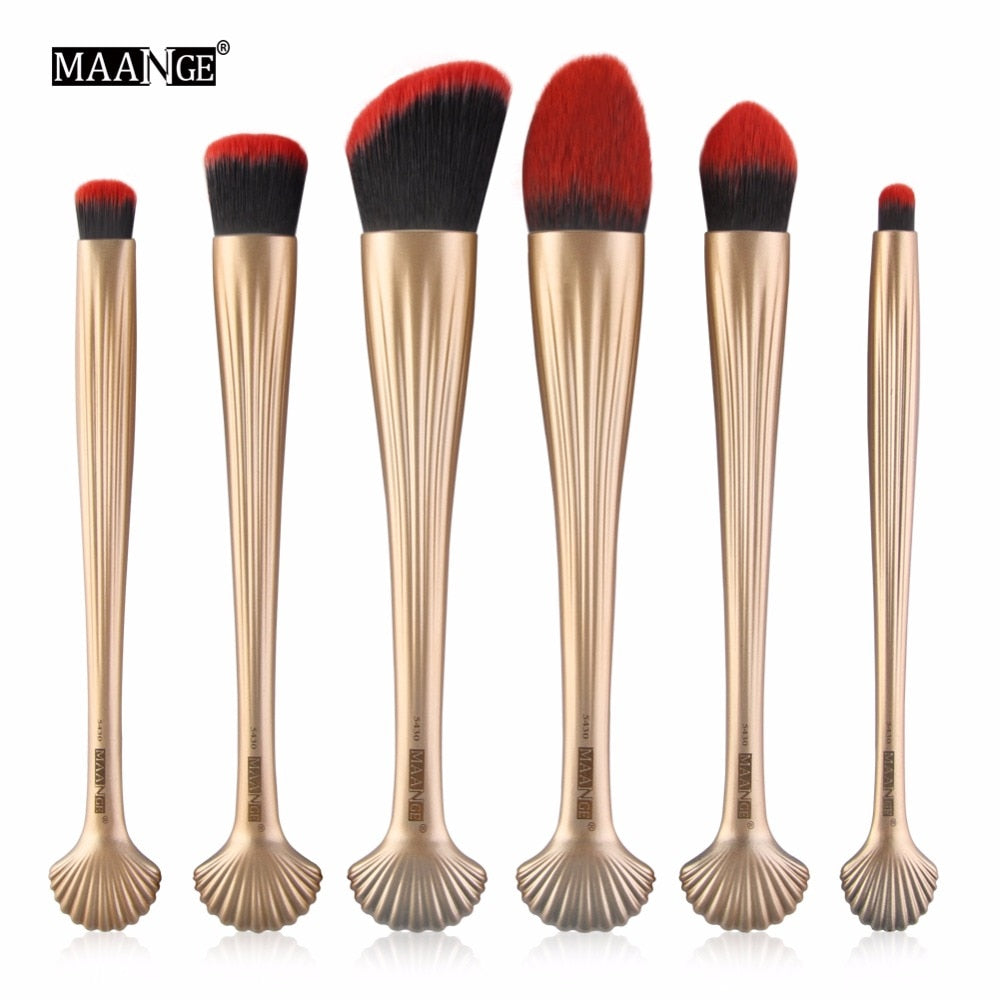 MAANGE New 6PCS Pro Cosmetic Makeup Brushes Set Powder Foundation Contour Blending Eye Shadow Lip