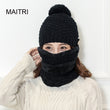 MAITRI 2017 New Winter Hat Scarf Mask 3 Set For Women Fashion Solid Fur Wool Lining Warm Beanie Cap Skullies Bonnet Scarf Sets