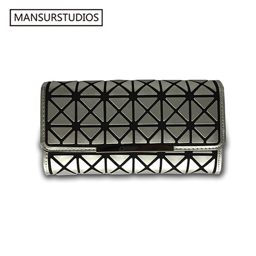 MANSURSTUDIOS women fashion Long Wallets,Diamond lattice laser long purse luminous BaoBao