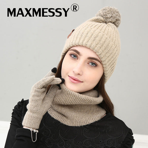 234686408dc MAXMESSY New Knitted Winter Hat Scarf Glove Set Women Thick Touch Screen  Glove Beanies Ring Scarf