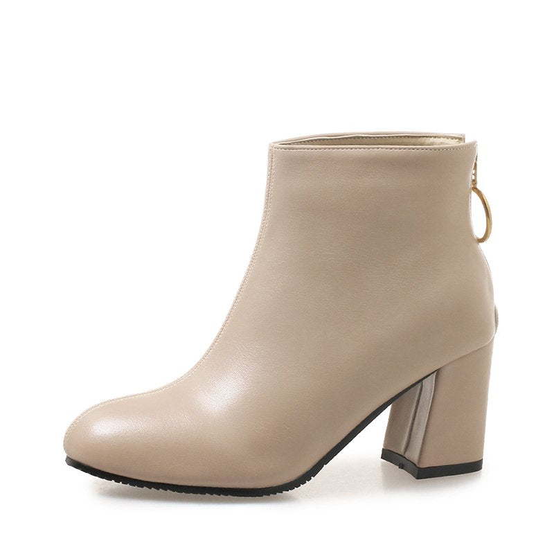 MCCKLE Autumn Ankle Boots Fashion High Heel Shoes Women Chunky Heels Back  Zipper Female Plus Size