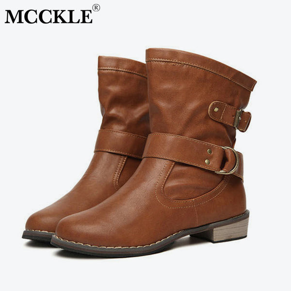 MCCKLE Autumn Casual Mid Calf Boots Women Motocycle Boot Buckle Strap Low Heel Shoes For Woman Warm