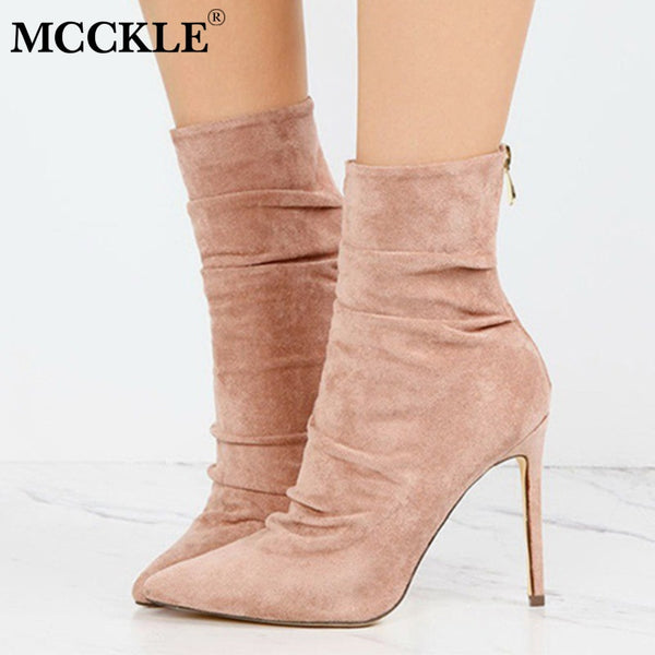 MCCKLE Autumn Sexy High Heel Shoes Zipper Woman Ankle Boots Plus Size Thin Heels Shoe For Female