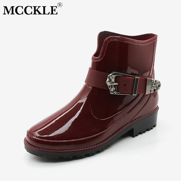 MCCKLE Autumn Woman Ankle Boots Patent Leather Low Heel Shoe For Ladies Buckle Strap Platform