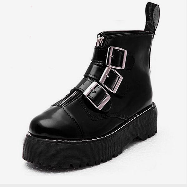 MCCKLE Flat Platform Women Ankle Boots Autumn Female Creepers Fashion Buckle Square Heel Shoes