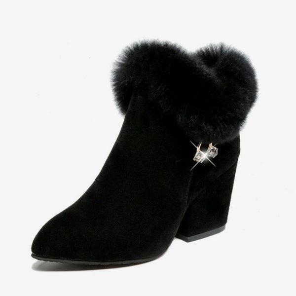 MCCKLE High Heels Women Ankle Boots Warm Faux Fur Zip Chunky Heel Pointed Toe Ladies Short Botas