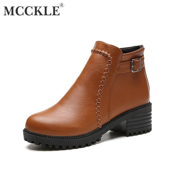 MCCKLE Platform Autumn Women Ankle Boots Chunky Heels Female Buckle Strap Casual Low Heel Short
