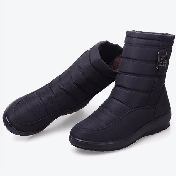 MCCKLE Platform Women Winter Snow Boots Waterproof Ankle Boot Plus Size Wedges Heel Casual Zipper