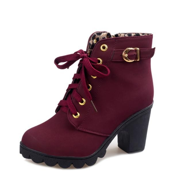 0b440b371a7 MCCKLE Plus Size Ankle Boots Women Platform High Heels Lace Up ...