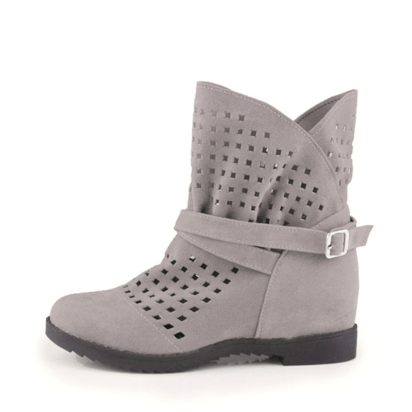 MCCKLE Plus Size Ankle Boots for Women Increasing Heel Boot Platform Cut Out Booties Female Casual